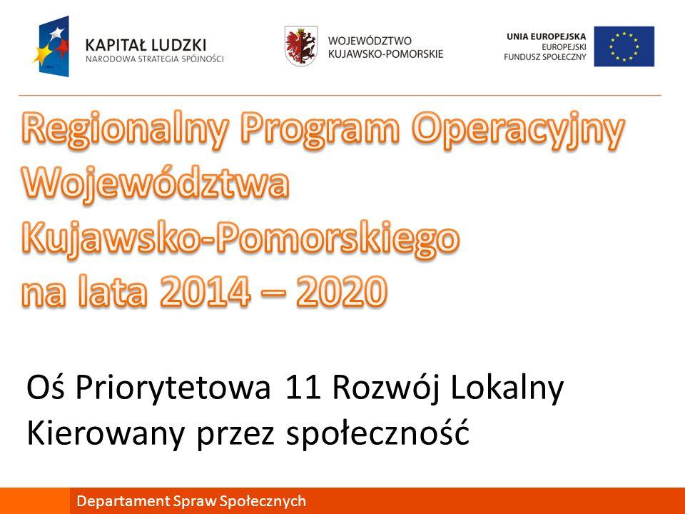 Oś Priorytetowa 11 Rozwój Lokalny Kierowany przez społeczność Departament Spraw Społecznych