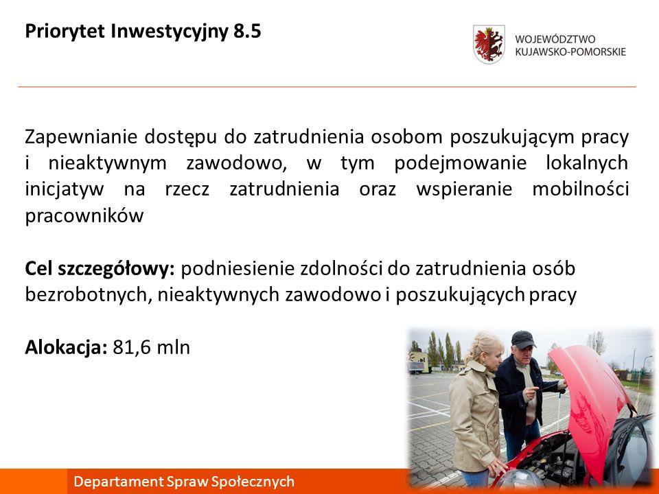 Priorytet Inwestycyjny 8.5 Zapewnianie dostępu do zatrudnienia osobom poszukującym pracy i nieaktywnym zawodowo, w tym podejmowanie lokalnych inicjaty