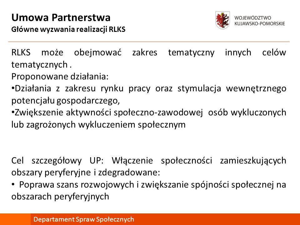 Umowa Partnerstwa Główne wyzwania realizacji RLKS RLKS może obejmować zakres tematyczny innych celów tematycznych. Proponowane działania: Działania z