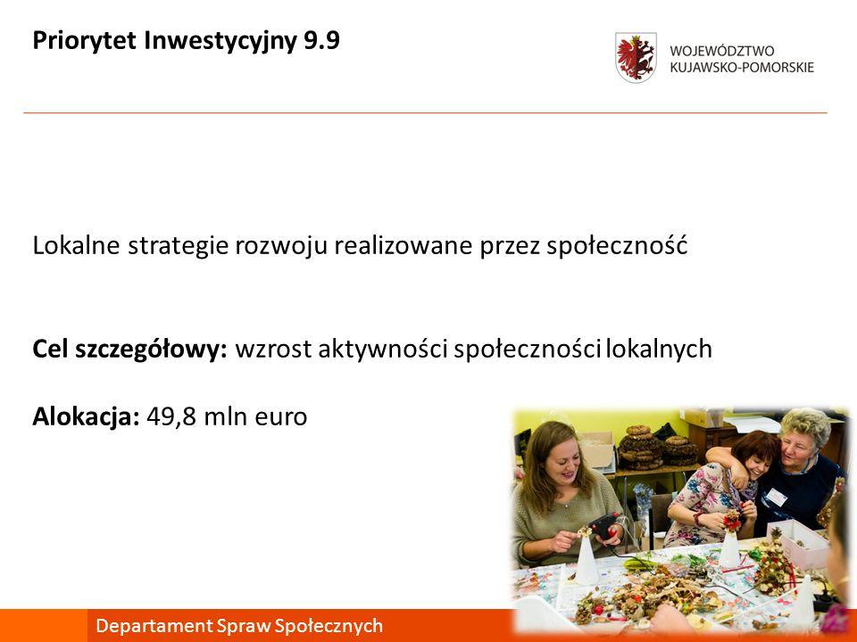 Priorytet Inwestycyjny 9.9 Lokalne strategie rozwoju realizowane przez społeczność Cel szczegółowy: wzrost aktywności społeczności lokalnych Alokacja: