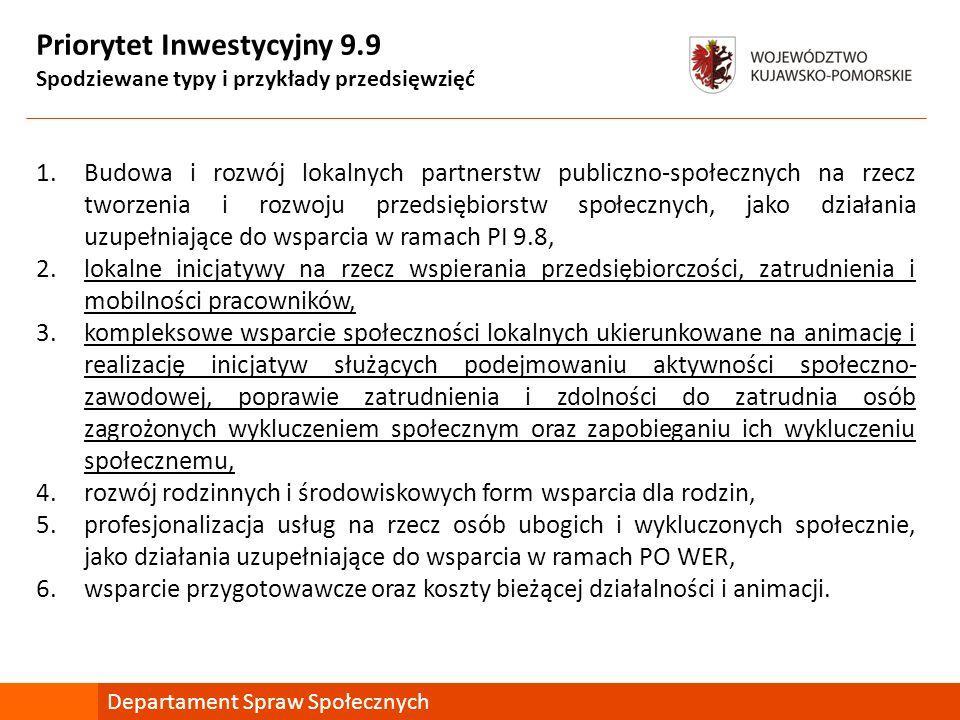 Priorytet Inwestycyjny 9.9 Spodziewane typy i przykłady przedsięwzięć 1.Budowa i rozwój lokalnych partnerstw publiczno-społecznych na rzecz tworzenia i rozwoju przedsiębiorstw społecznych, jako działania uzupełniające do wsparcia w ramach PI 9.8, 2.lokalne inicjatywy na rzecz wspierania przedsiębiorczości, zatrudnienia i mobilności pracowników, 3.kompleksowe wsparcie społeczności lokalnych ukierunkowane na animację i realizację inicjatyw służących podejmowaniu aktywności społeczno- zawodowej, poprawie zatrudnienia i zdolności do zatrudnia osób zagrożonych wykluczeniem społecznym oraz zapobieganiu ich wykluczeniu społecznemu, 4.rozwój rodzinnych i środowiskowych form wsparcia dla rodzin, 5.profesjonalizacja usług na rzecz osób ubogich i wykluczonych społecznie, jako działania uzupełniające do wsparcia w ramach PO WER, 6.wsparcie przygotowawcze oraz koszty bieżącej działalności i animacji.