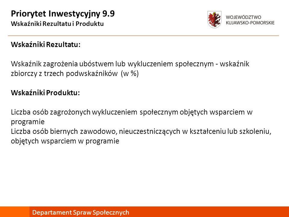 Priorytet Inwestycyjny 9.9 Wskaźniki Rezultatu i Produktu Wskaźniki Rezultatu: Wskaźnik zagrożenia ubóstwem lub wykluczeniem społecznym - wskaźnik zbi