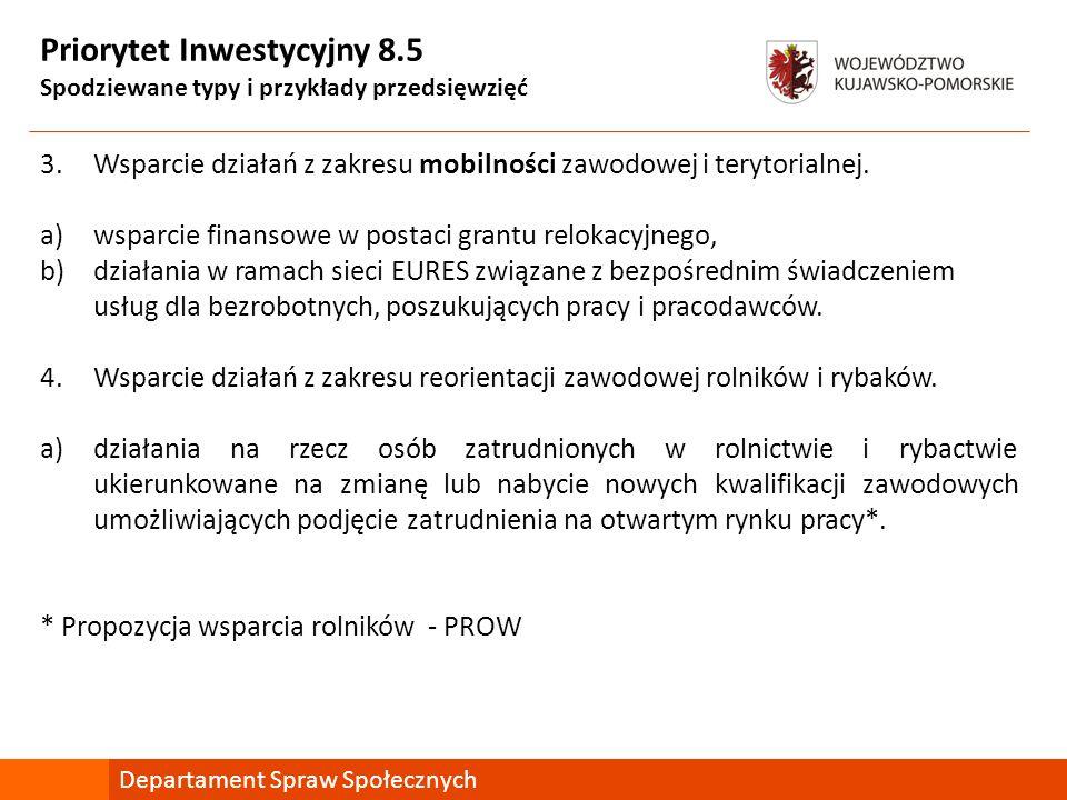 Priorytet Inwestycyjny 8.9 Spodziewane typy i przykłady przedsięwzięć 2.Wsparcie w zakresie usług szkoleniowo-doradczych dla przedsiębiorstw, odczuwających negatywne skutki zmiany gospodarczej ukierunkowanych na zapobieganie sytuacjom kryzysowym, w tym pomoc doradcza w zakresie opracowania i wdrożenia planu rozwoju działalności/planu restrukturyzacji, a)działania szkoleniowe i doradcze dla przedsiębiorstw i ich pracowników, w szczególności zaś dla kadry zarządzającej ukierunkowane na budowanie świadomości w zakresie opracowywania i wdrażania projektów wspierających modernizację w obszarze działalności (wsparcie dla planowania, wdrażania procesów zmian, budowanie strategii przetrwania lub wyjścia z kryzysu) Departament Spraw Społecznych