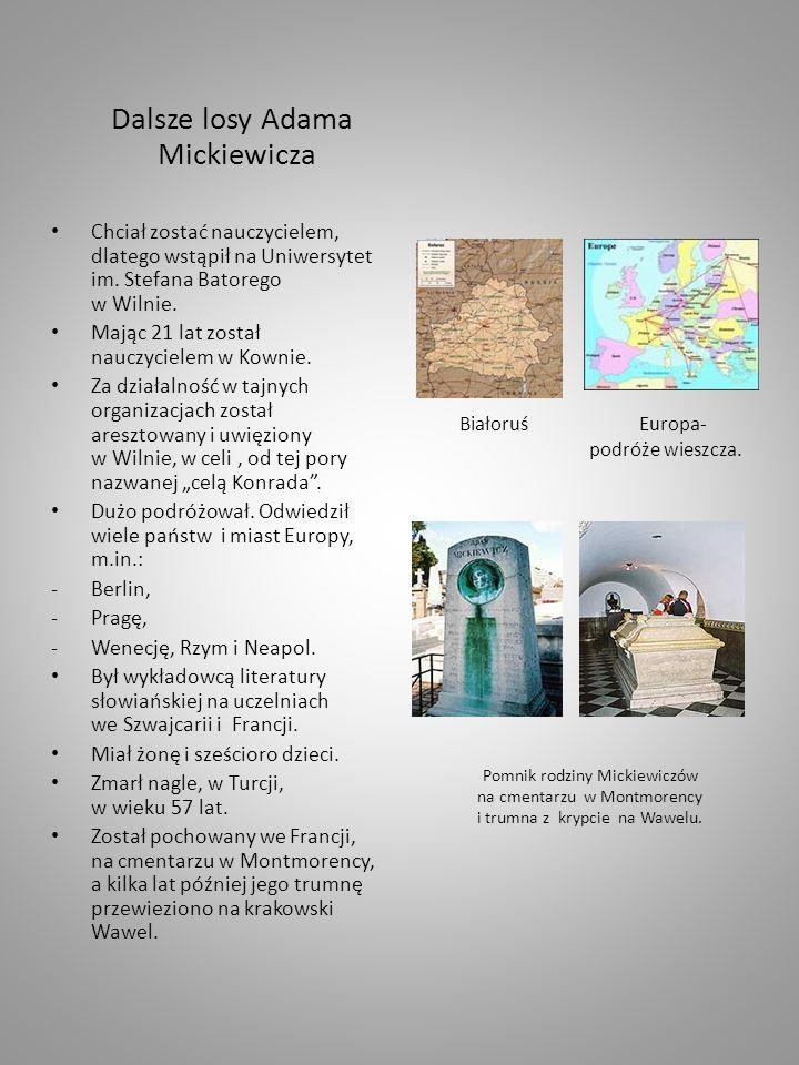 Dalsze losy Adama Mickiewicza Chciał zostać nauczycielem, dlatego wstąpił na Uniwersytet im.