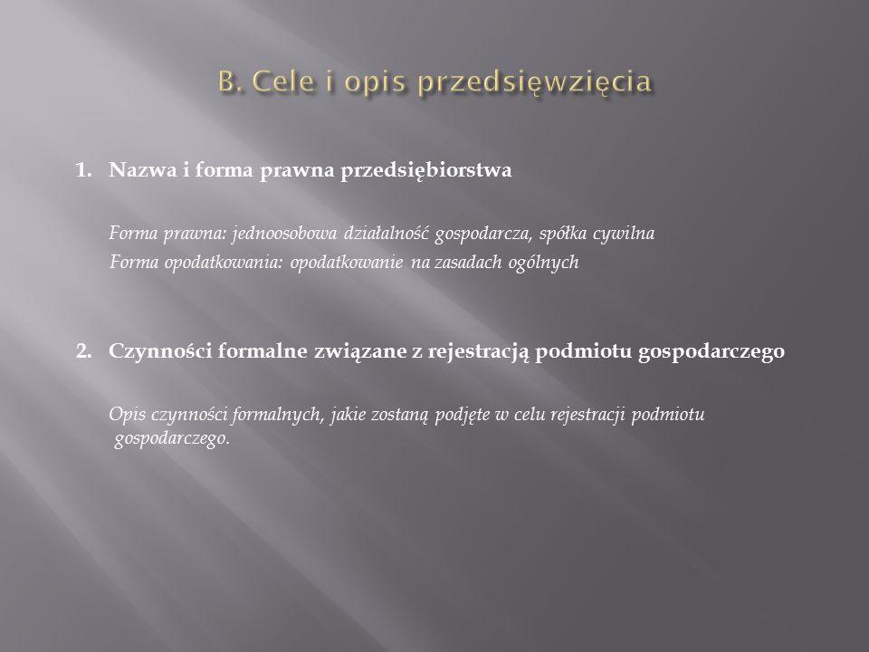 1. Nazwa i forma prawna przedsiębiorstwa Forma prawna: jednoosobowa działalność gospodarcza, spółka cywilna Forma opodatkowania: opodatkowanie na zasa