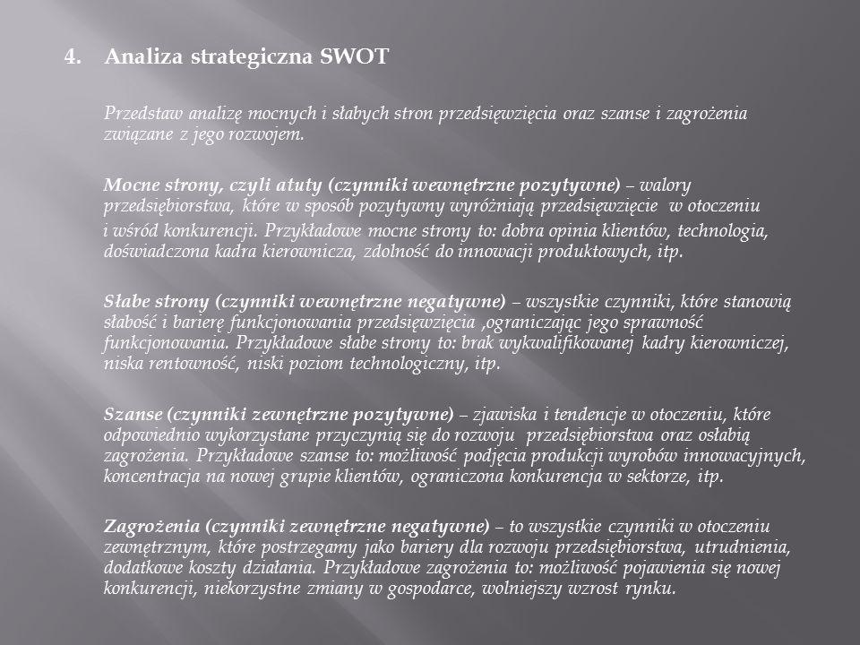 4. Analiza strategiczna SWOT Przedstaw analizę mocnych i słabych stron przedsięwzięcia oraz szanse i zagrożenia związane z jego rozwojem. Mocne strony