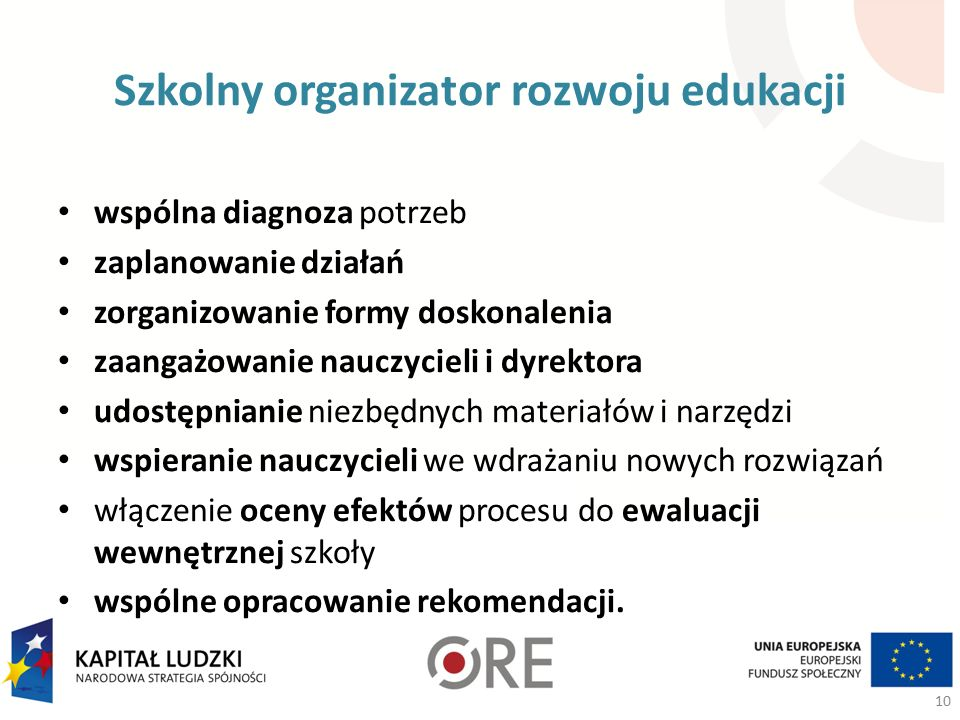 Szkolny organizator rozwoju edukacji wspólna diagnoza potrzeb zaplanowanie działań zorganizowanie formy doskonalenia zaangażowanie nauczycieli i dyrektora udostępnianie niezbędnych materiałów i narzędzi wspieranie nauczycieli we wdrażaniu nowych rozwiązań włączenie oceny efektów procesu do ewaluacji wewnętrznej szkoły wspólne opracowanie rekomendacji.