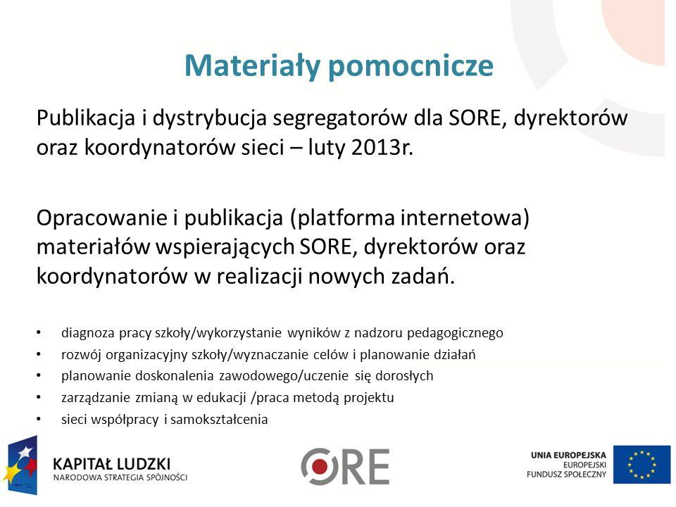 Materiały pomocnicze Publikacja i dystrybucja segregatorów dla SORE, dyrektorów oraz koordynatorów sieci – luty 2013r.