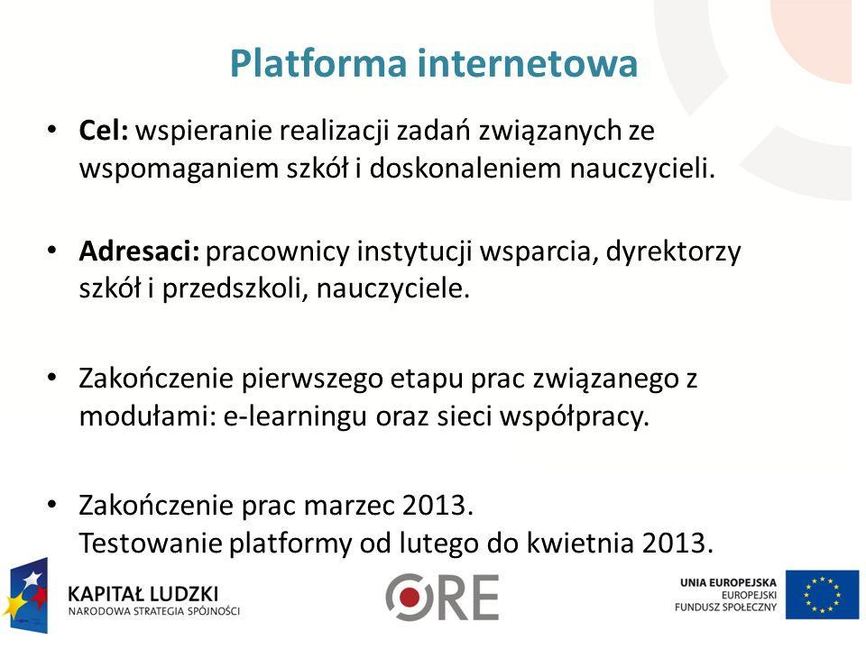 Platforma internetowa Cel: wspieranie realizacji zadań związanych ze wspomaganiem szkół i doskonaleniem nauczycieli.