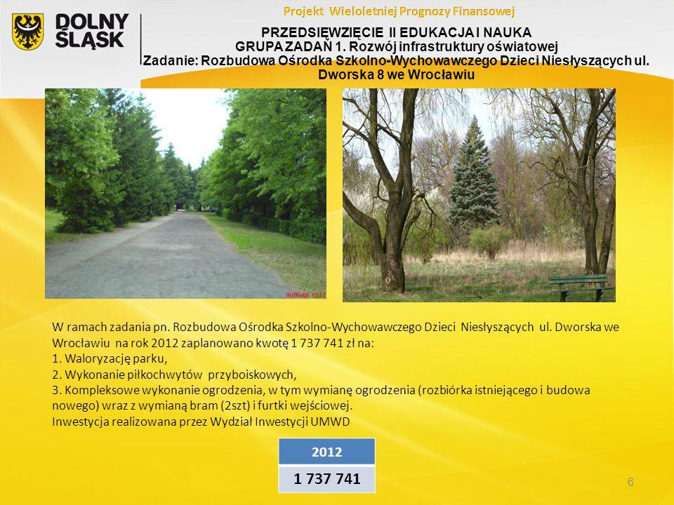 7 Projekt realizowany w ramach priorytetu nr 7 Rozbudowa i Modernizacja infrastruktury edukacyjnej na Dolnym Śląsku, działanie nr 7.2 Rozwój infrastruktury placówek edukacyjnych (Edukacja) Regionalnego Programu Operacyjnego dla Województwa Dolnośląskiego na lata 2007-2013 Wartość całkowita inwestycji 6 873 294 zł, w tym: Środki unijne 4 810 618 zł (69,99 %) Budżet Województwa Dolnośląskiego 2 062 676 zł (30,01%) Dotychczas poniesione wydatki 1 910 493 zł.
