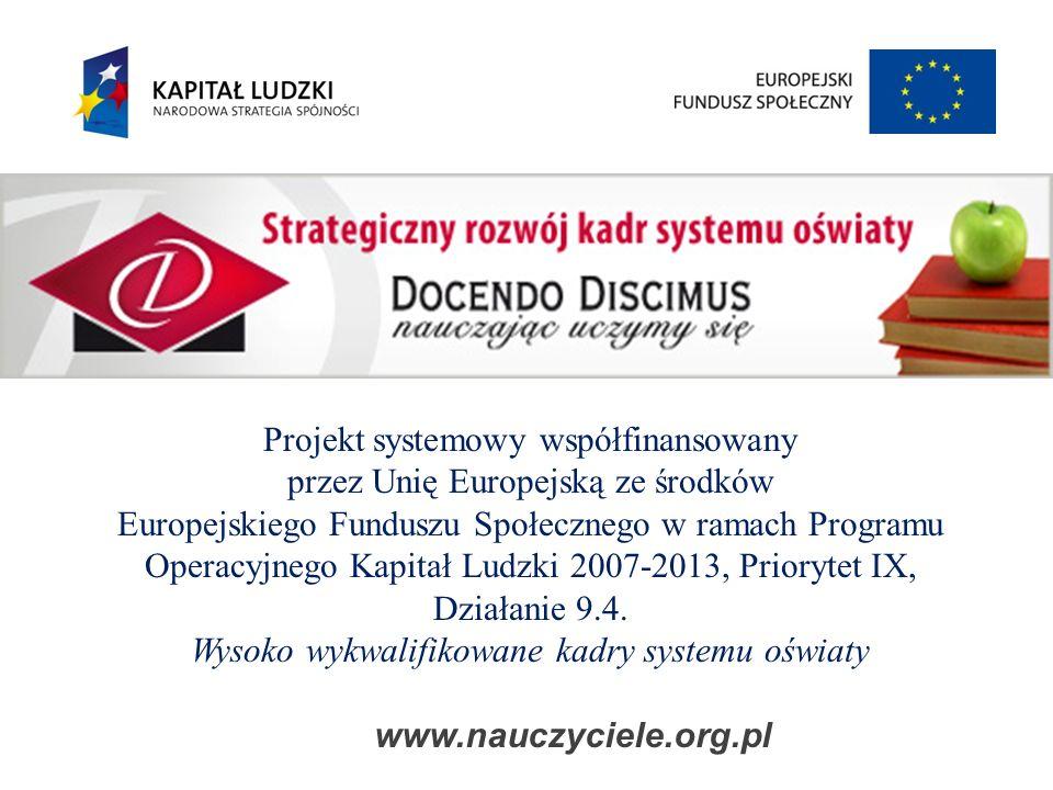 Projekt systemowy współfinansowany przez Unię Europejską ze środków Europejskiego Funduszu Społecznego w ramach Programu Operacyjnego Kapitał Ludzki 2007-2013, Priorytet IX, Działanie 9.4.