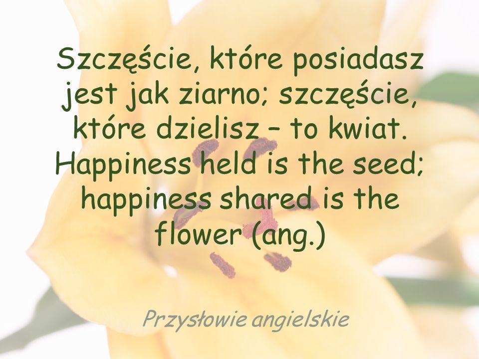 Szczęście, które posiadasz jest jak ziarno; szczęście, które dzielisz – to kwiat.