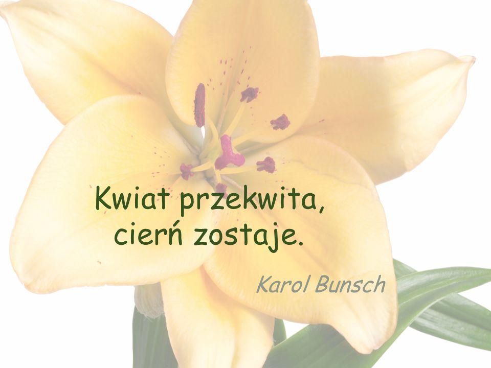 Kwiat przekwita, cierń zostaje. Karol Bunsch