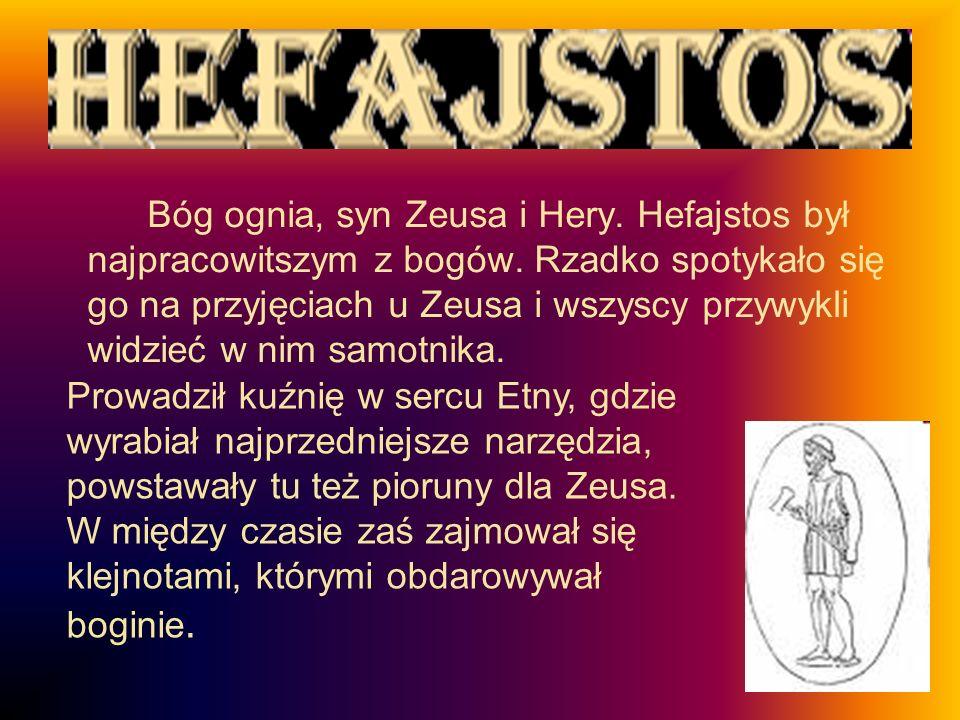 Bóg ognia, syn Zeusa i Hery.Hefajstos był najpracowitszym z bogów.