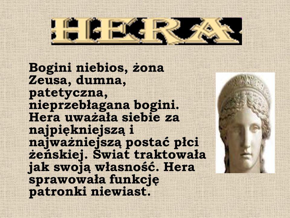 Bogini niebios, żona Zeusa, dumna, patetyczna, nieprzebłagana bogini.