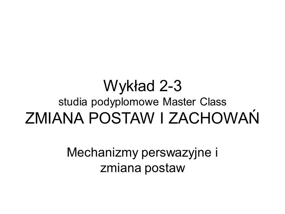Wykład 2-3 studia podyplomowe Master Class ZMIANA POSTAW I ZACHOWAŃ Mechanizmy perswazyjne i zmiana postaw