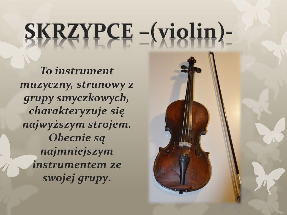 To instrument muzyczny, strunowy z grupy smyczkowych, charakteryzuje się najwyższym strojem.