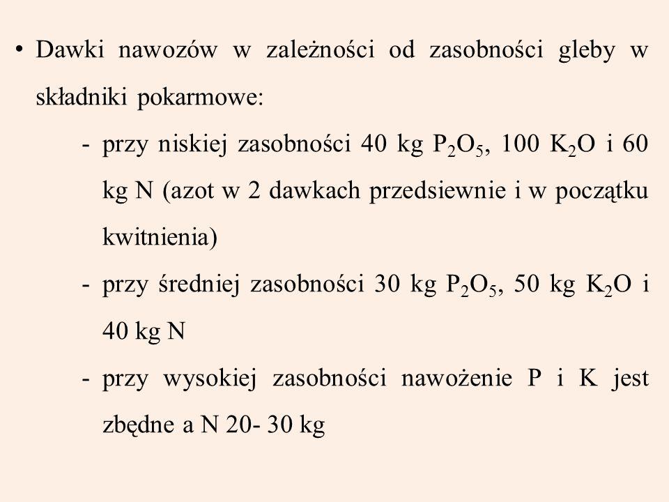 Dawki nawozów w zależności od zasobności gleby w składniki pokarmowe: -przy niskiej zasobności 40 kg P 2 O 5, 100 K 2 O i 60 kg N (azot w 2 dawkach pr