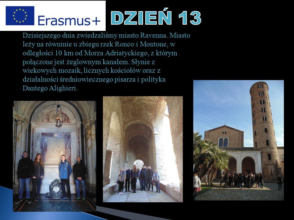 Dzisiejszego dnia zwiedzaliśmy miasto Ravenna. Miasto leży na równinie u zbiegu rzek Ronco i Montone, w odległości 10 km od Morza Adriatyckiego, z któ