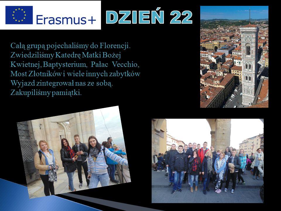Całą grupą pojechaliśmy do Florencji. Zwiedziliśmy Katedrę Matki Bożej Kwietnej, Baptysterium, Pałac Vecchio, Most Złotników i wiele innych zabytków W