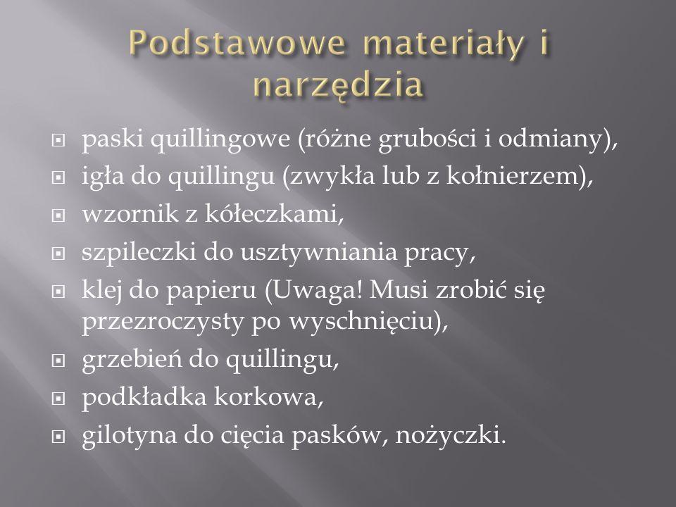  paski quillingowe (różne grubości i odmiany),  igła do quillingu (zwykła lub z kołnierzem),  wzornik z kółeczkami,  szpileczki do usztywniania pr