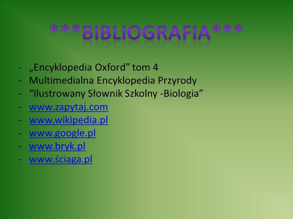 """-""""Encyklopedia Oxford"""" tom 4 -Multimedialna Encyklopedia Przyrody -""""Ilustrowany Słownik Szkolny -Biologia"""" -www.zapytaj.comwww.zapytaj.com -www.wikipe"""