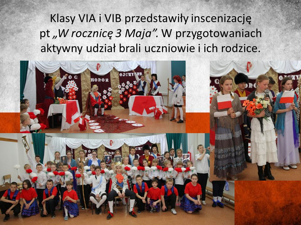 Wszyscy uczniowie Zespołu Szkół ubrani w biel i czerwień utworzyli na sali gimnastycznej flagę Polski.