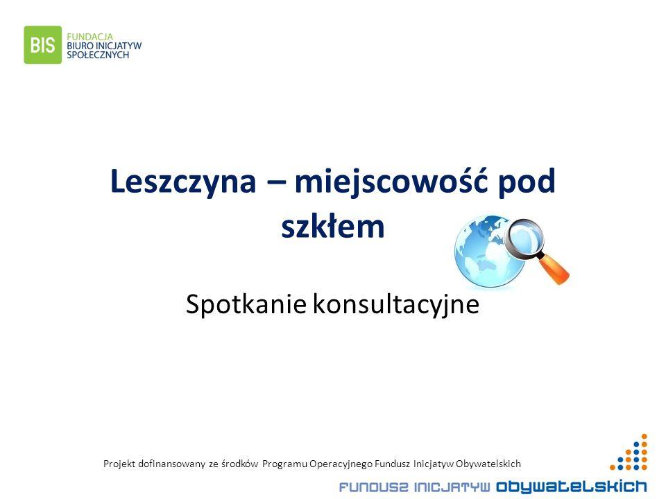 Projekt dofinansowany ze środków Programu Operacyjnego Fundusz Inicjatyw Obywatelskich Leszczyna – miejscowość pod szkłem Spotkanie konsultacyjne