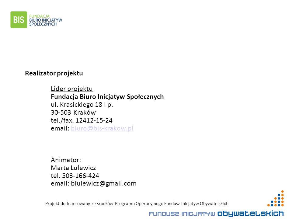 Realizator projektu Lider projektu Fundacja Biuro Inicjatyw Społecznych ul.