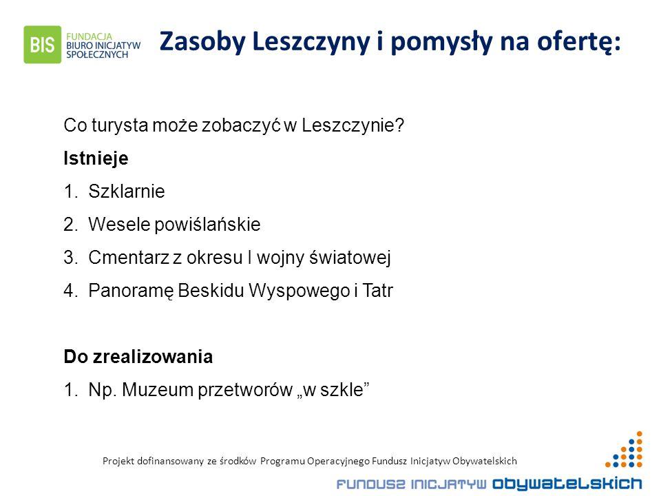 Projekt dofinansowany ze środków Programu Operacyjnego Fundusz Inicjatyw Obywatelskich Zasoby Leszczyny i pomysły na ofertę: Co turysta może zobaczyć w Leszczynie.