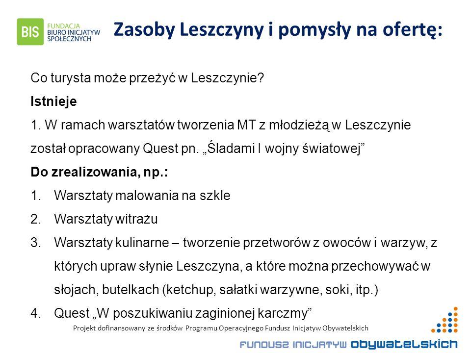 Projekt dofinansowany ze środków Programu Operacyjnego Fundusz Inicjatyw Obywatelskich Zasoby Leszczyny i pomysły na ofertę: Co turysta może przeżyć w Leszczynie.