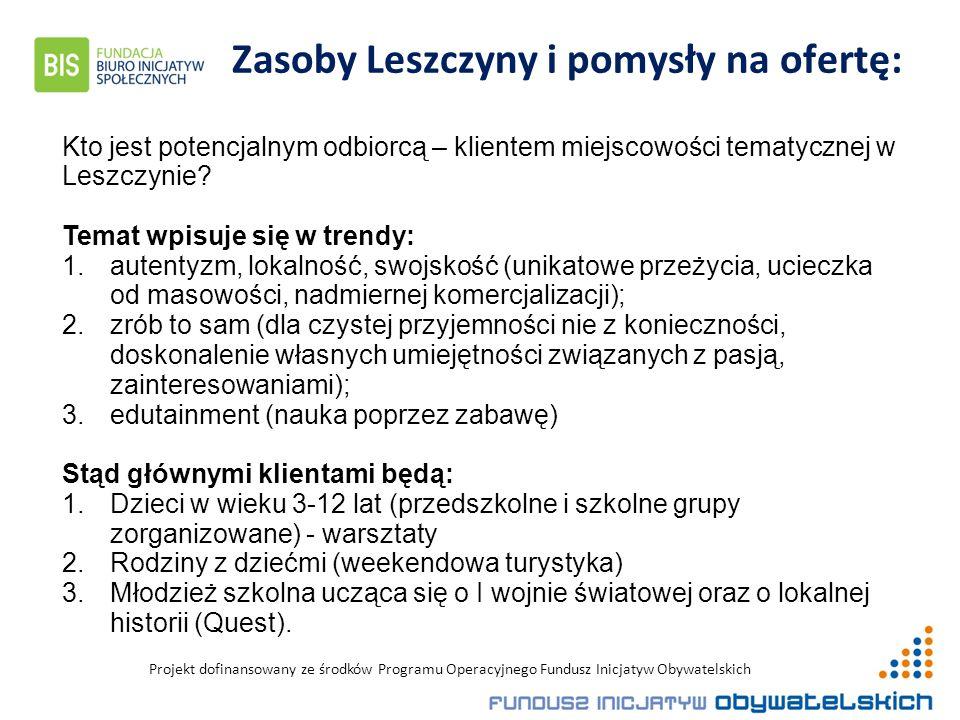 Projekt dofinansowany ze środków Programu Operacyjnego Fundusz Inicjatyw Obywatelskich Zasoby Leszczyny i pomysły na ofertę: Kto jest potencjalnym odbiorcą – klientem miejscowości tematycznej w Leszczynie.
