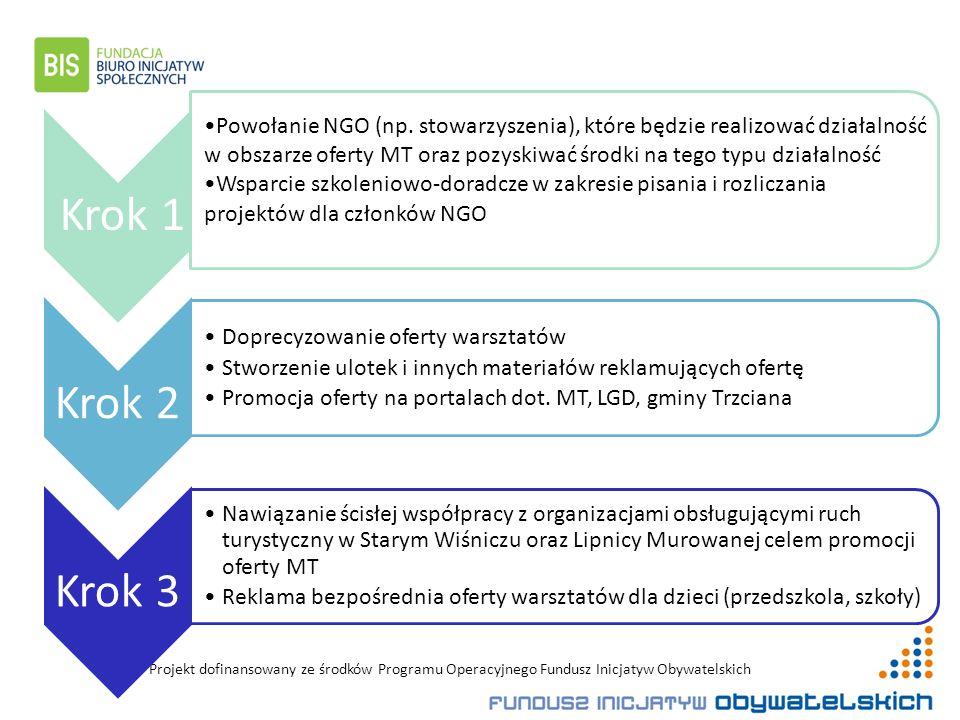 Projekt dofinansowany ze środków Programu Operacyjnego Fundusz Inicjatyw Obywatelskich Krok 1 Powołanie NGO (np.