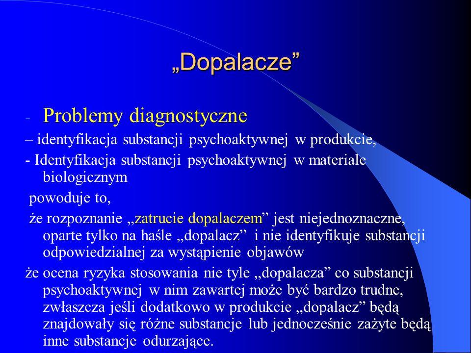 """""""Dopalacze - Problemy diagnostyczne – identyfikacja substancji psychoaktywnej w produkcie, - Identyfikacja substancji psychoaktywnej w materiale biologicznym powoduje to, że rozpoznanie """"zatrucie dopalaczem jest niejednoznaczne, oparte tylko na haśle """"dopalacz i nie identyfikuje substancji odpowiedzialnej za wystąpienie objawów że ocena ryzyka stosowania nie tyle """"dopalacza co substancji psychoaktywnej w nim zawartej może być bardzo trudne, zwłaszcza jeśli dodatkowo w produkcie """"dopalacz będą znajdowały się różne substancje lub jednocześnie zażyte będą inne substancje odurzające."""