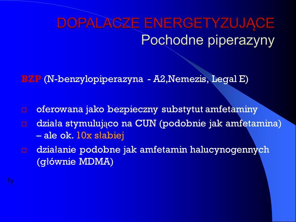BZP (N-benzylopiperazyna - A2,Nemezis, Legal E)  oferowana jako bezpieczny substytut amfetaminy  dzia ł a stymuluj ą co na CUN (podobnie jak amfetamina) – ale ok.