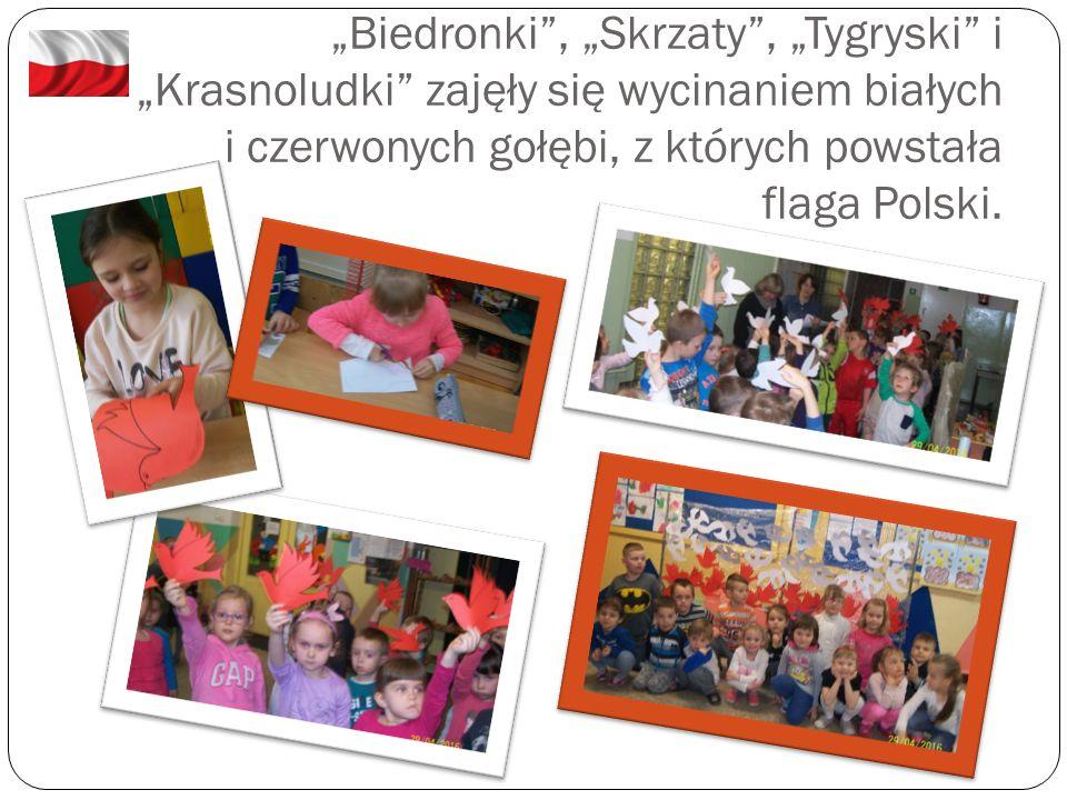 """""""Biedronki"""", """"Skrzaty"""", """"Tygryski"""" i """"Krasnoludki"""" zajęły się wycinaniem białych i czerwonych gołębi, z których powstała flaga Polski."""