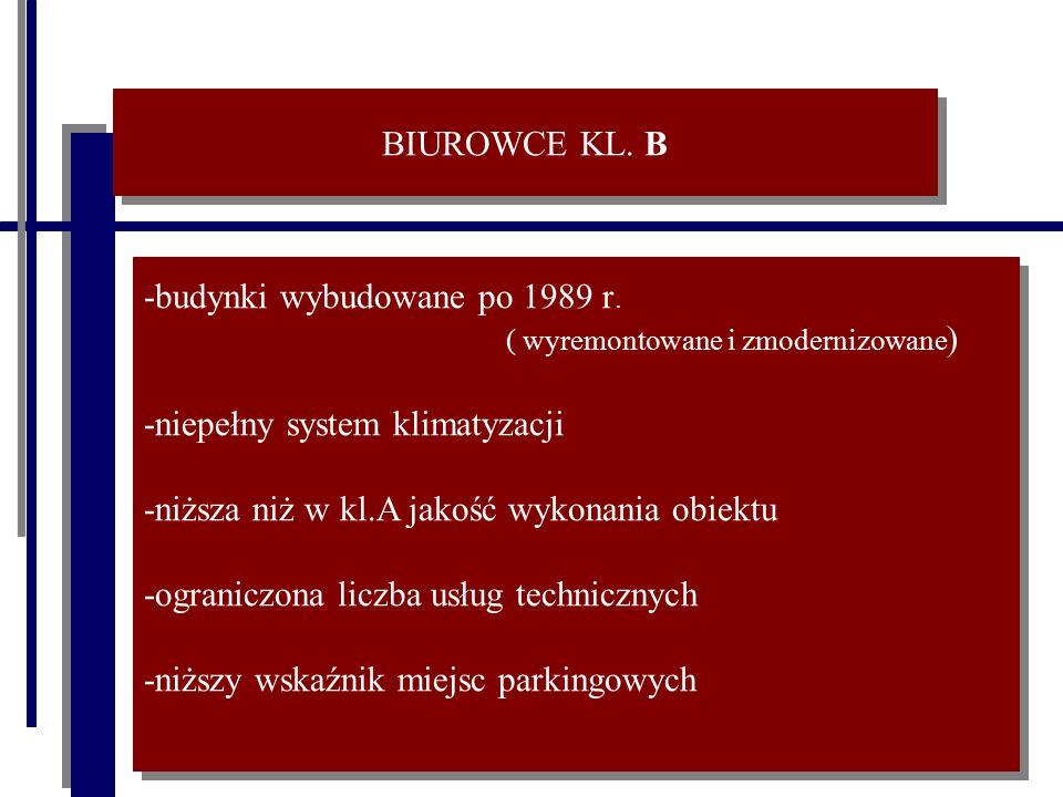 BIUROWCE KL. B -budynki wybudowane po 1989 r. ( wyremontowane i zmodernizowane ) -niepełny system klimatyzacji -niższa niż w kl.A jakość wykonania obi