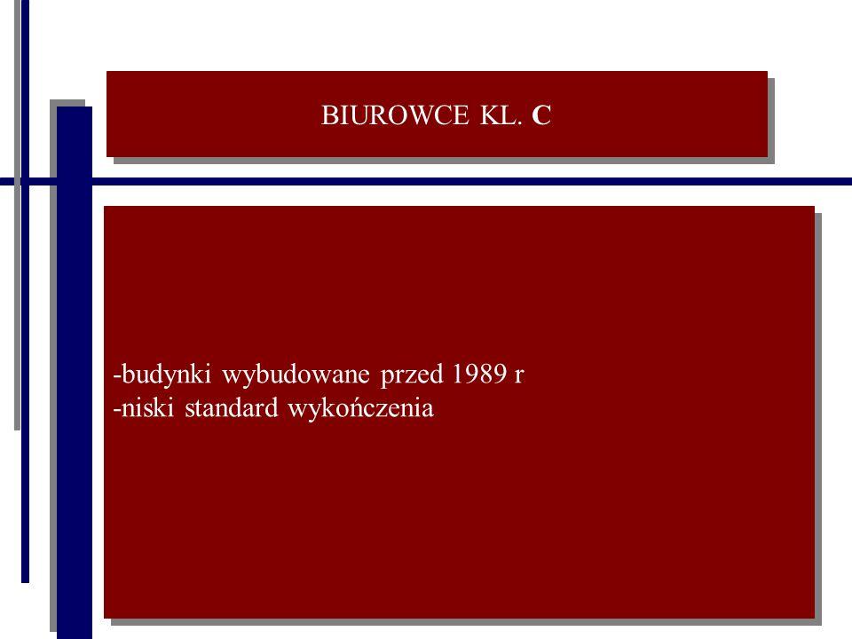 BIUROWCE KL. C -budynki wybudowane przed 1989 r -niski standard wykończenia -budynki wybudowane przed 1989 r -niski standard wykończenia