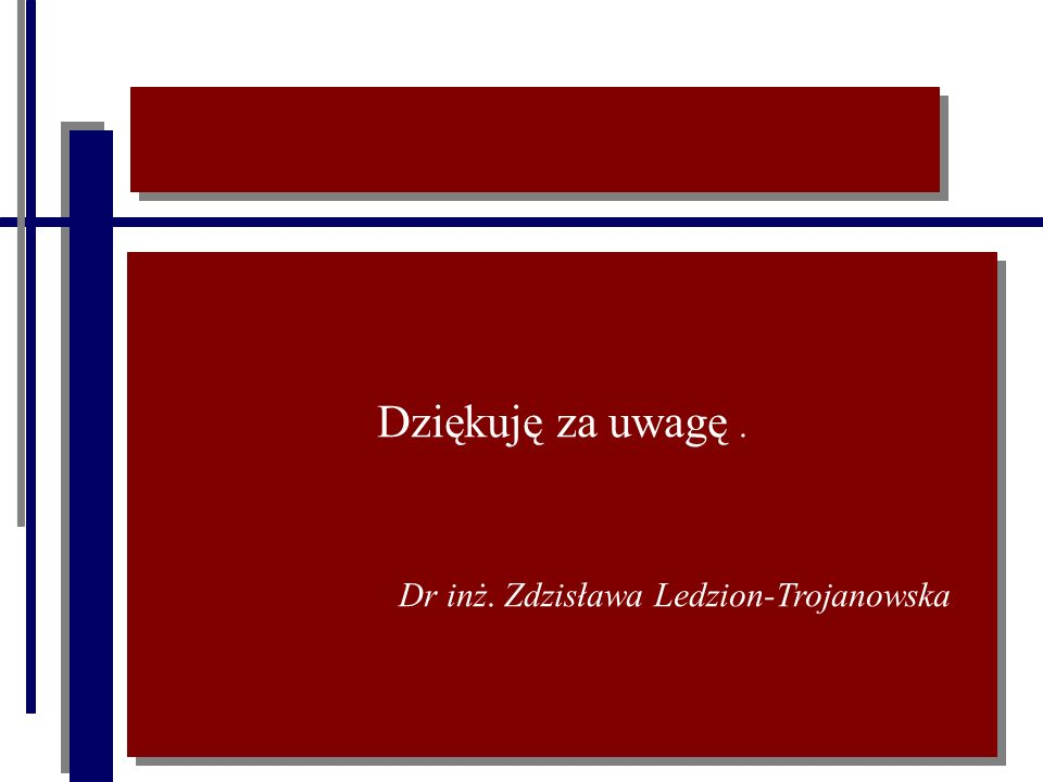 Dziękuję za uwagę. Dr inż. Zdzisława Ledzion-Trojanowska Dziękuję za uwagę. Dr inż. Zdzisława Ledzion-Trojanowska
