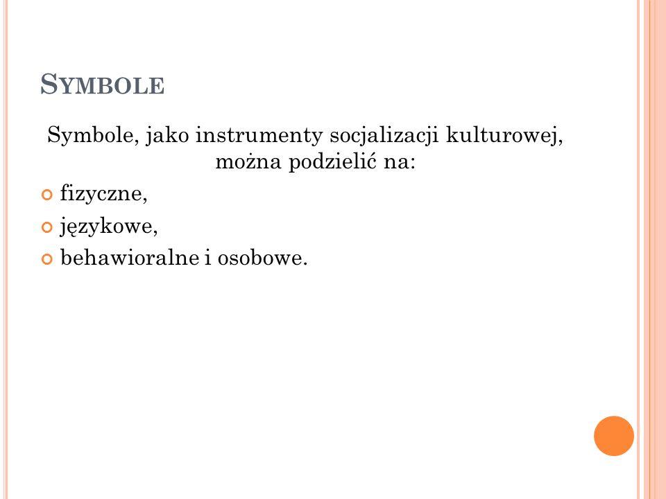 S YMBOLE Symbole, jako instrumenty socjalizacji kulturowej, można podzielić na: fizyczne, językowe, behawioralne i osobowe.