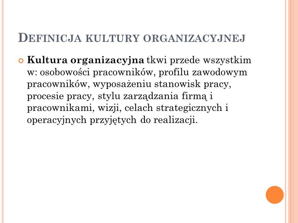 D EFINICJA KULTURY ORGANIZACYJNEJ Kultura organizacyjna jest tym elementem firmy, którym można zarządzać, ale którego nie do końca można zaplanować, gdyż kulturę tę tworzą ludzie tam pracujący.