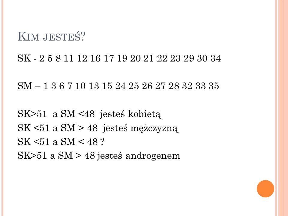K IM JESTEŚ ? SK - 2 5 8 11 12 16 17 19 20 21 22 23 29 30 34 SM – 1 3 6 7 10 13 15 24 25 26 27 28 32 33 35 SK>51 a SM <48 jesteś kobietą SK 48 jesteś
