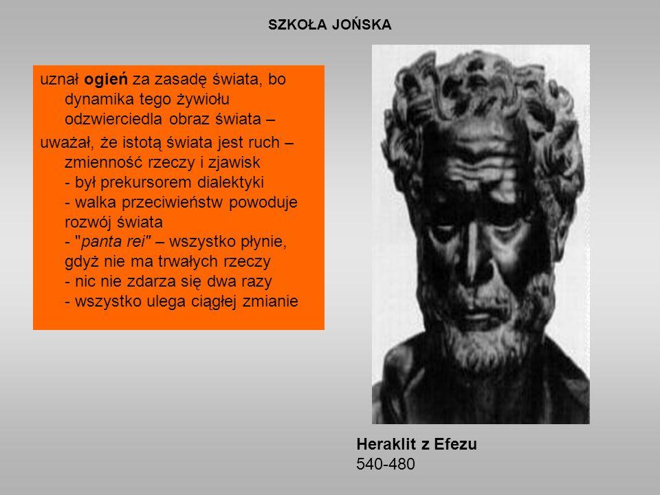 SZKOŁA JOŃSKA uznał ogień za zasadę świata, bo dynamika tego żywiołu odzwierciedla obraz świata – uważał, że istotą świata jest ruch – zmienność rzeczy i zjawisk - był prekursorem dialektyki - walka przeciwieństw powoduje rozwój świata - panta rei – wszystko płynie, gdyż nie ma trwałych rzeczy - nic nie zdarza się dwa razy - wszystko ulega ciągłej zmianie Heraklit z Efezu 540-480