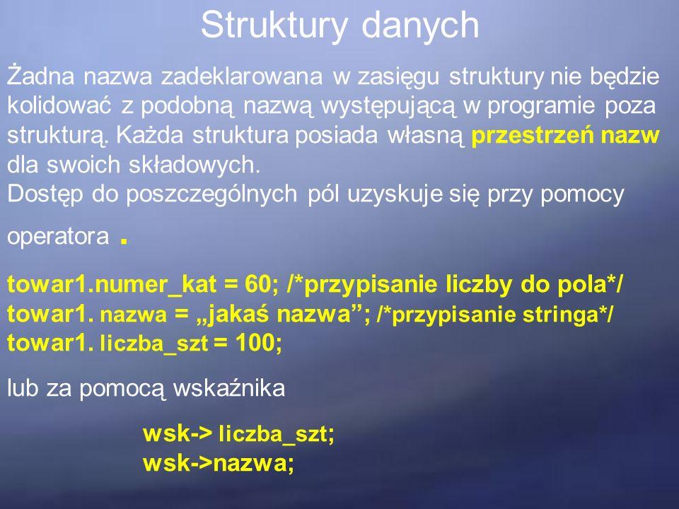Struktury danych Żadna nazwa zadeklarowana w zasięgu struktury nie będzie kolidować z podobną nazwą występującą w programie poza strukturą. Każda stru