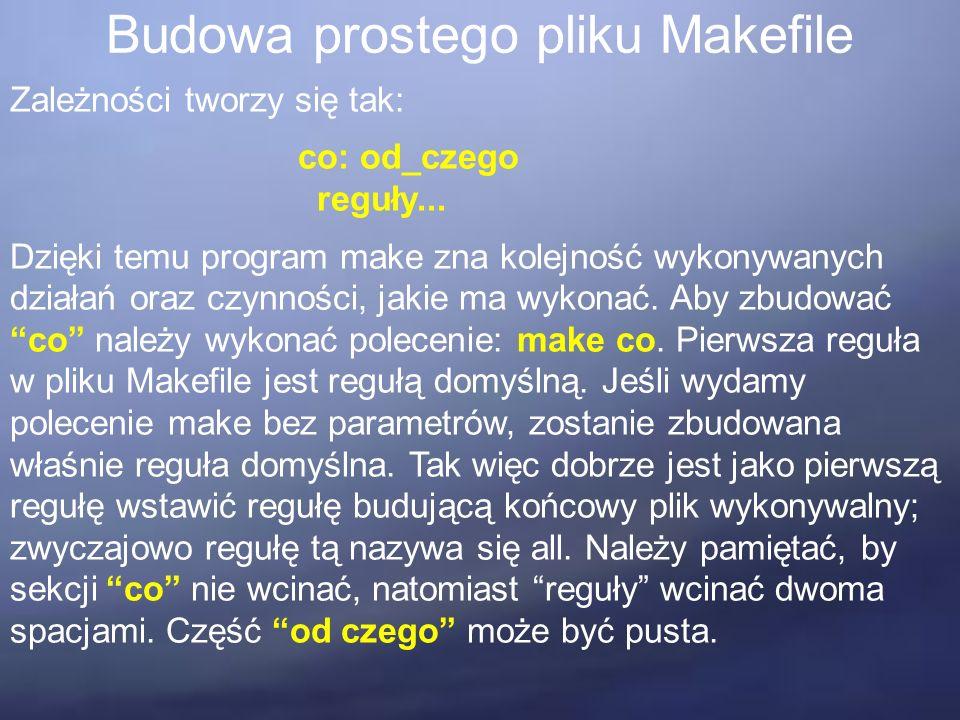 Budowa prostego pliku Makefile Zależności tworzy się tak: co: od_czego reguły... Dzięki temu program make zna kolejność wykonywanych działań oraz czyn