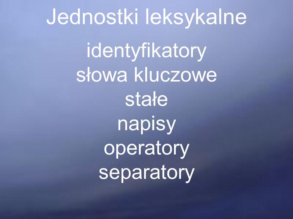 Jednostki leksykalne identyfikatory słowa kluczowe stałe napisy operatory separatory