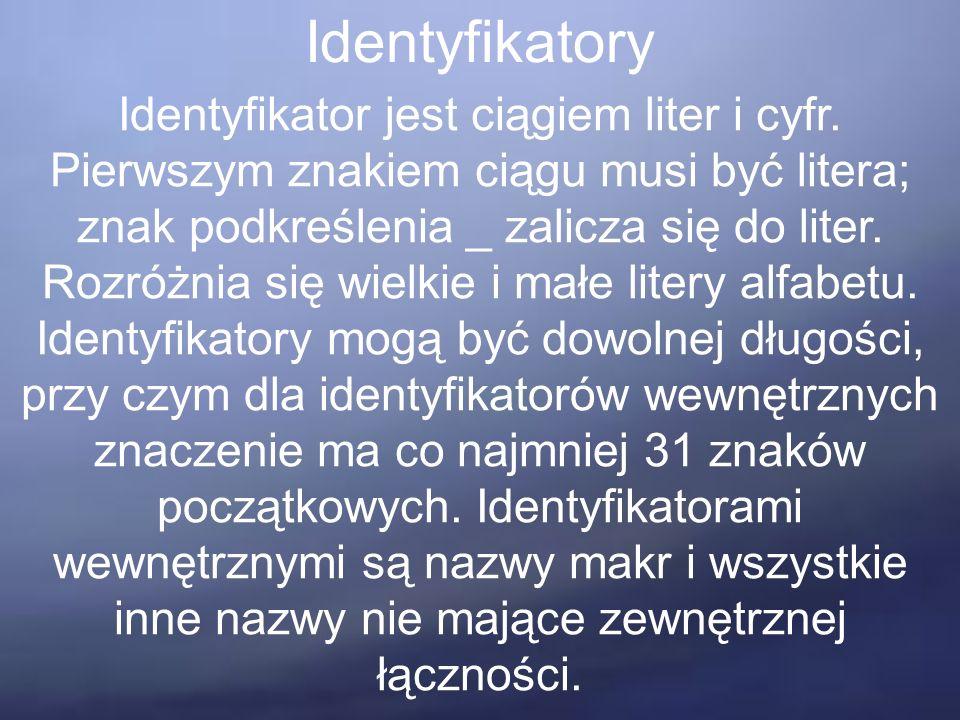 Identyfikatory Identyfikator jest ciągiem liter i cyfr. Pierwszym znakiem ciągu musi być litera; znak podkreślenia _ zalicza się do liter. Rozróżnia s