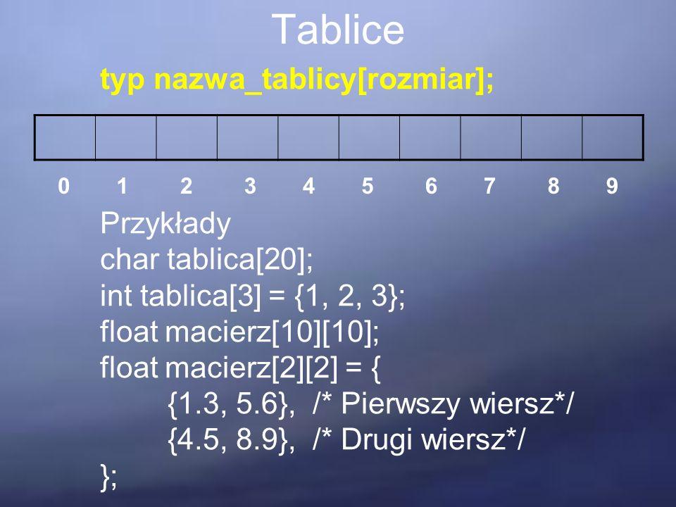 Tablice typ nazwa_tablicy[rozmiar]; Przykłady char tablica[20]; int tablica[3] = {1, 2, 3}; float macierz[10][10]; float macierz[2][2] = { {1.3, 5.6}, /* Pierwszy wiersz*/ {4.5, 8.9}, /* Drugi wiersz*/ }; 0123546789