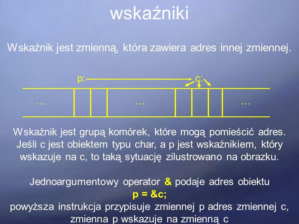 wskaźniki Wskaźnik jest zmienną, która zawiera adres innej zmiennej. ……… p:c: Wskaźnik jest grupą komórek, które mogą pomieścić adres. Jeśli c jest ob