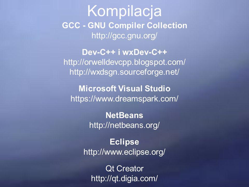 Kompilacja GCC - GNU Compiler Collection http://gcc.gnu.org/ Dev-C++ i wxDev-C++ http://orwelldevcpp.blogspot.com/ http://wxdsgn.sourceforge.net/ Microsoft Visual Studio https://www.dreamspark.com/ NetBeans http://netbeans.org/ Eclipse http://www.eclipse.org/ Qt Creator http://qt.digia.com/